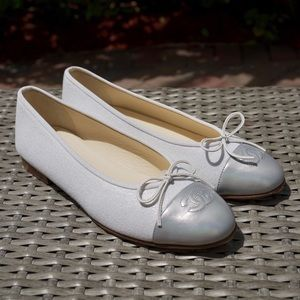 CHANEL Shoes - CHANEL White Canvas, Silver Leather Ballet Flats